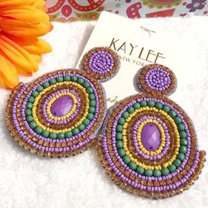 Huge Boho Seed Bead Double Circle Dangle Earrings